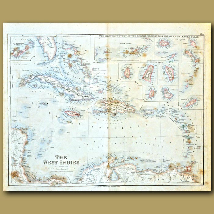 Antique print. Map Of The West Indies