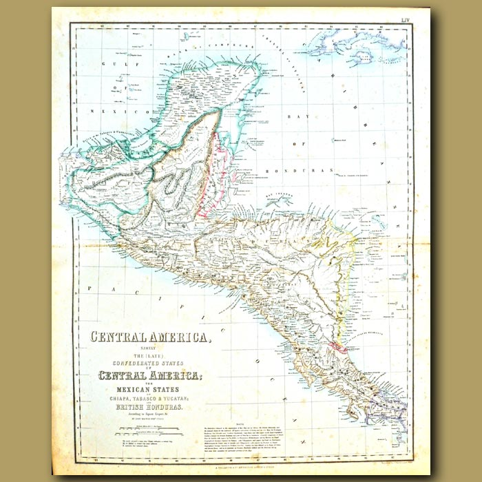 Antique print. Map Of Confederated States Of Central America