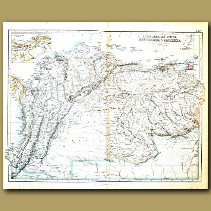 Antique print. Map Of New Grenada (Colombia) And Venezuela