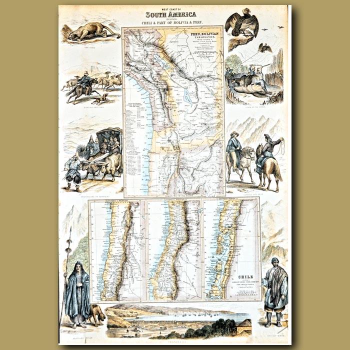 Antique print. Map Of West Coast Of South America Including Chile, Bolivia And Peru
