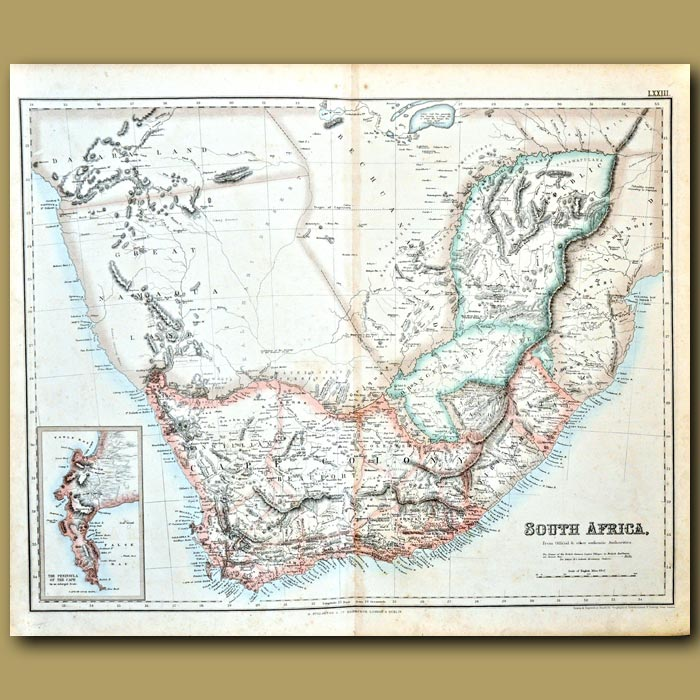 Antique print. Map Of South Africa