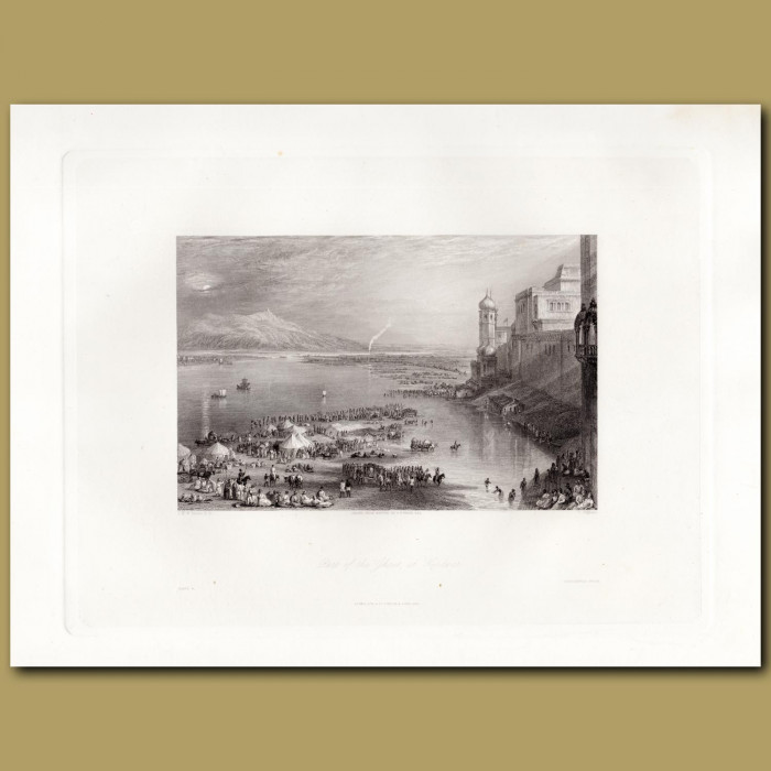 India: Part of the Ghaut at Hurdwar: Genuine antique print for sale.