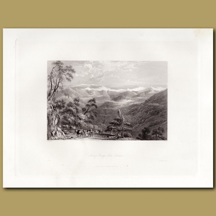 India: Snowy Range from Landour: Genuine antique print for sale.