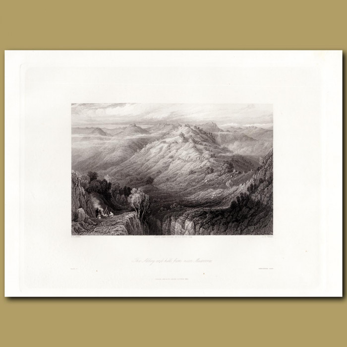 India: The Abbey and hills from near Mussooree: Genuine antique print for sale.