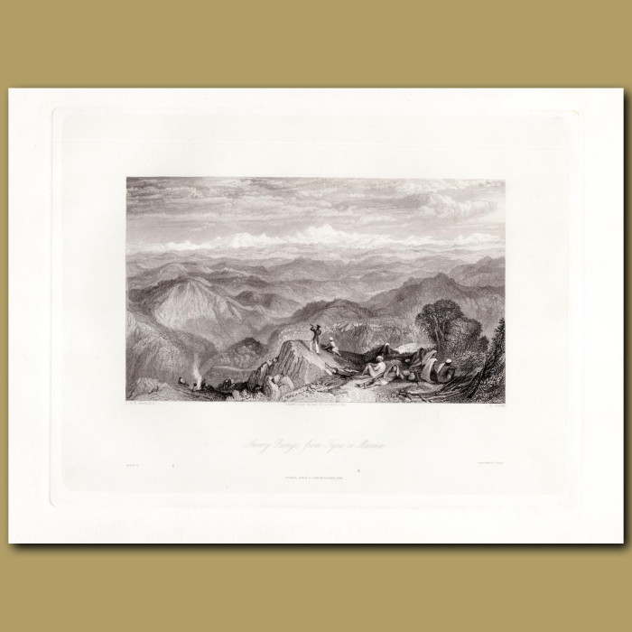 India: Snowy Range from Tyne or Marma: Genuine antique print for sale.