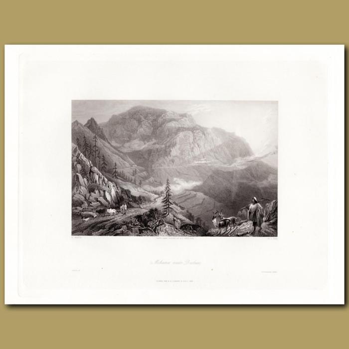 India: Village of Mohuna near Deobun: Genuine antique print for sale.