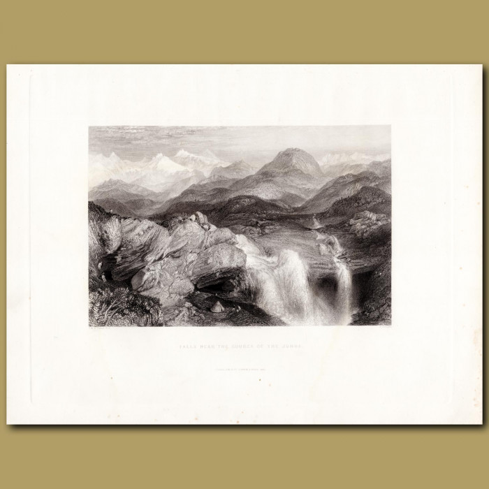 India: Falls near the source of the Jumna: Genuine antique print for sale.
