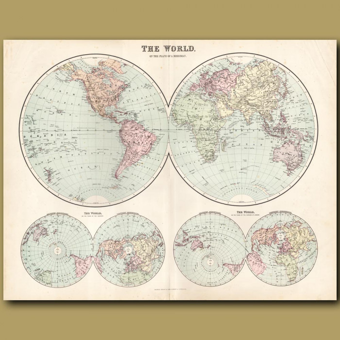 Map Of The World In Hemispheres: Genuine antique print for sale.
