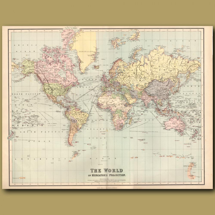 Map Of The World On Mercator's Projection: Genuine antique print for sale.