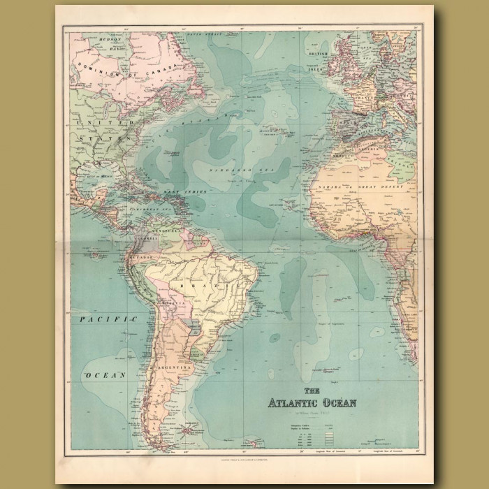 Map Of The Atlantic Ocean: Genuine antique print for sale.