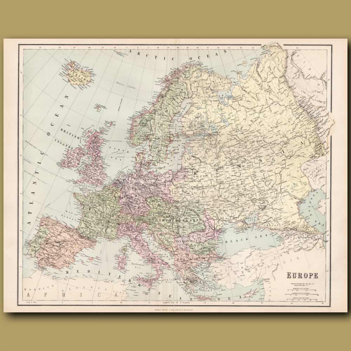 Map Of Europe: Genuine antique print for sale.