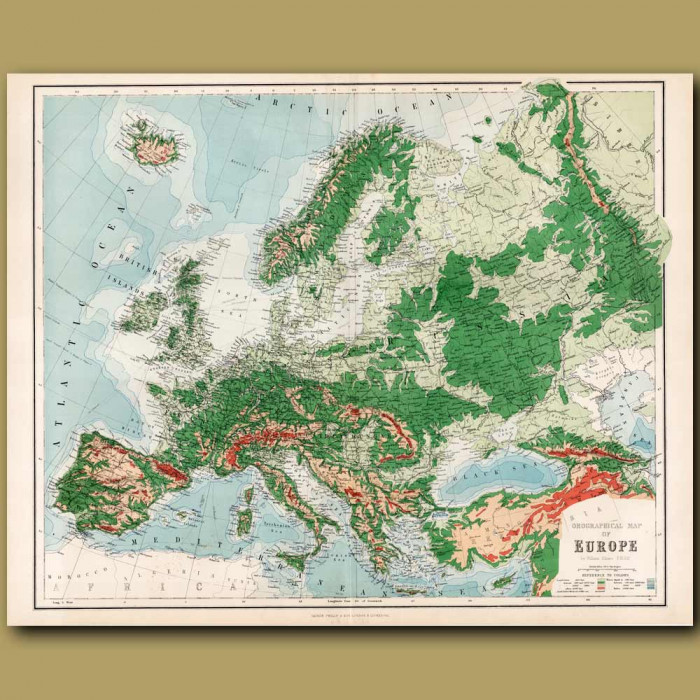 Orographical Map Of Europe: Genuine antique print for sale.