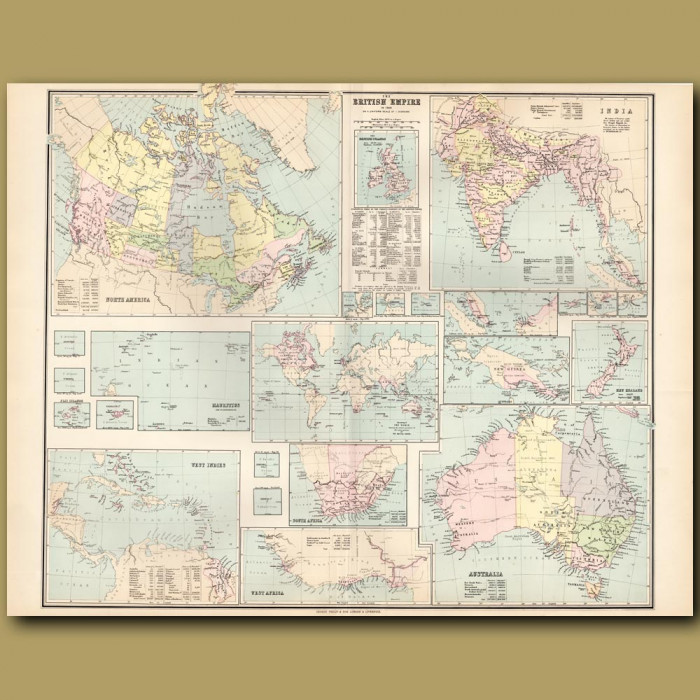 Map Of The British Empire: Genuine antique print for sale.