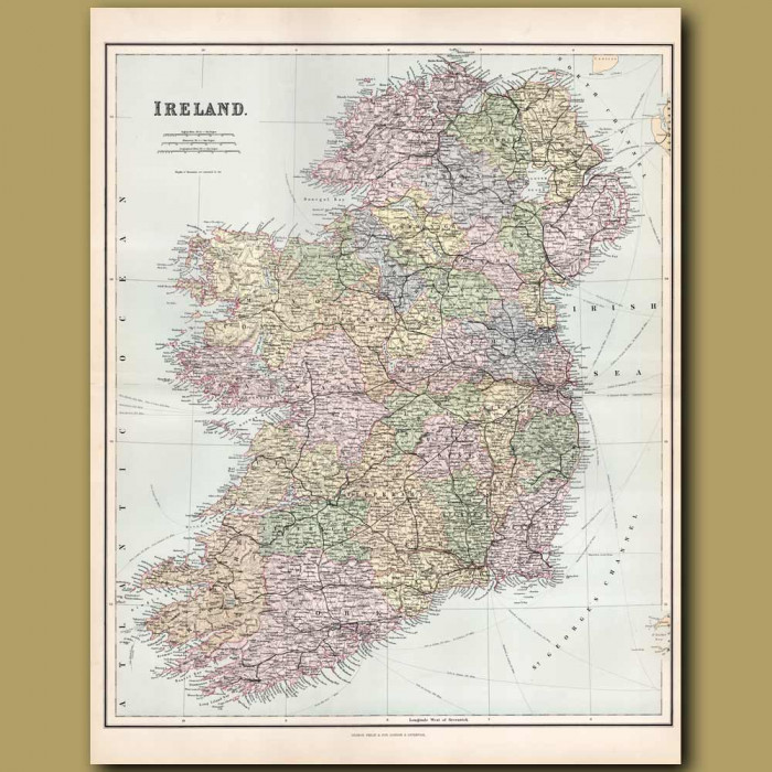 Map Of Ireland: Genuine antique print for sale.
