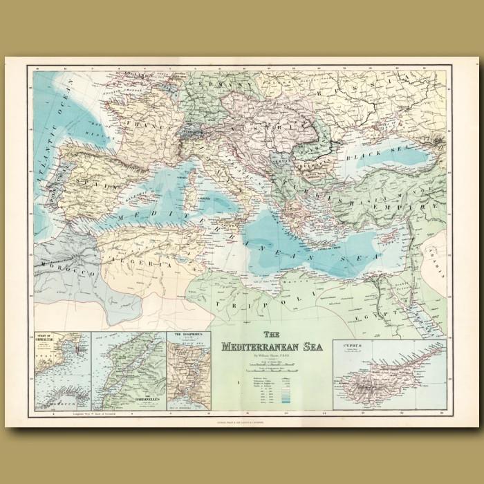 Map Of The Mediterranean Sea: Genuine antique print for sale.