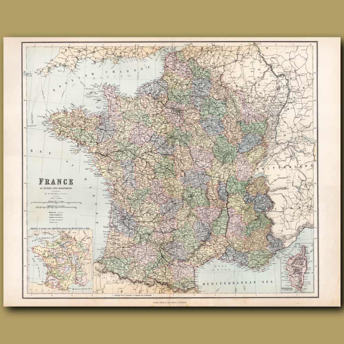 Map Of France: Genuine antique print for sale.
