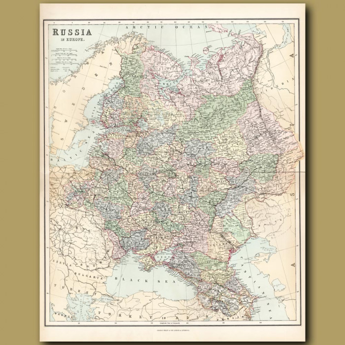 Map Of Russia In Europe: Genuine antique print for sale.
