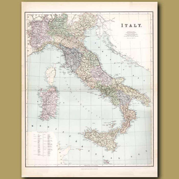Map Of Italy: Genuine antique print for sale.