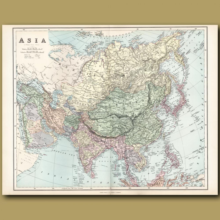 Map Of Asia: Genuine antique print for sale.