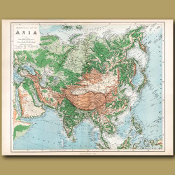 Orographical Map Of Asia