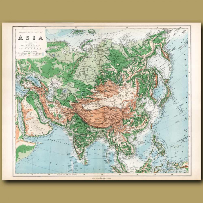 Orographical Map Of Asia: Genuine antique print for sale.