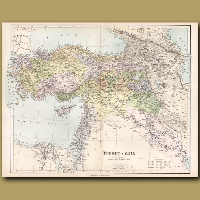 Map Of Turkey In Asia: Genuine antique print for sale.