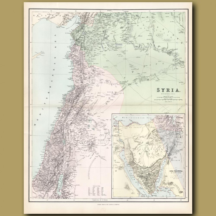 Map Of The Holy Land, Sinai Peninsula And Syria: Genuine antique print for sale.