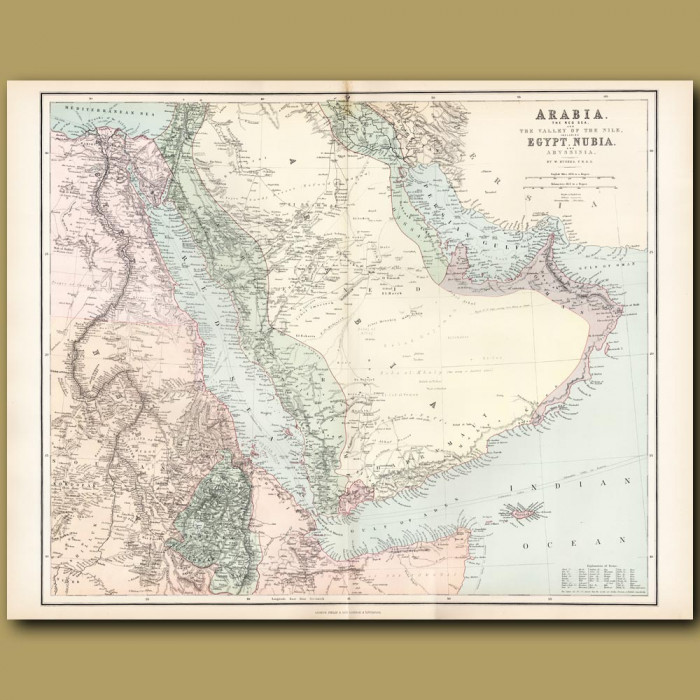 Map Of Arabia, The Red Sea And The Valley Of The Nile: Genuine antique print for sale.