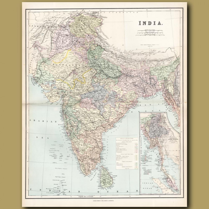 Map Of India: Genuine antique print for sale.