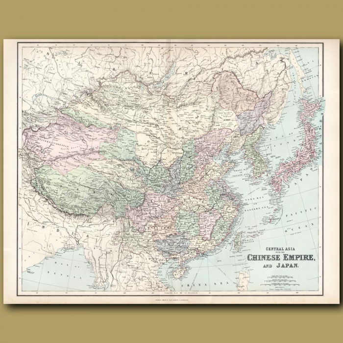 Map Of The Chinese Empire And Japan: Genuine antique print for sale.