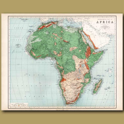 Orographical Map Of Africa