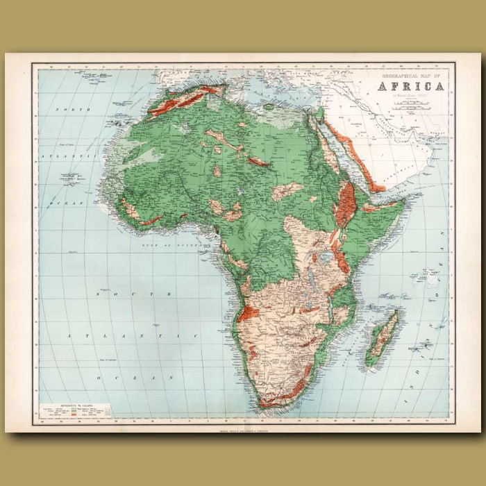 Orographical Map Of Africa: Genuine antique print for sale.
