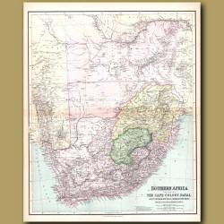 Map Of Southern Africa including the Cape Colony, Natal and Orange Free State
