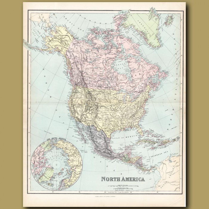 Map Of North America: Genuine antique print for sale.