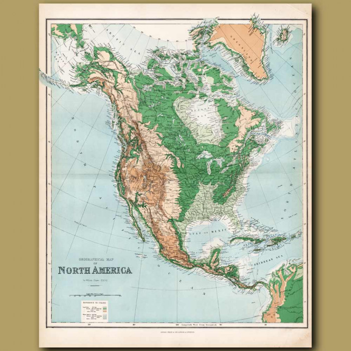 Orographical Map Of North America: Genuine antique print for sale.