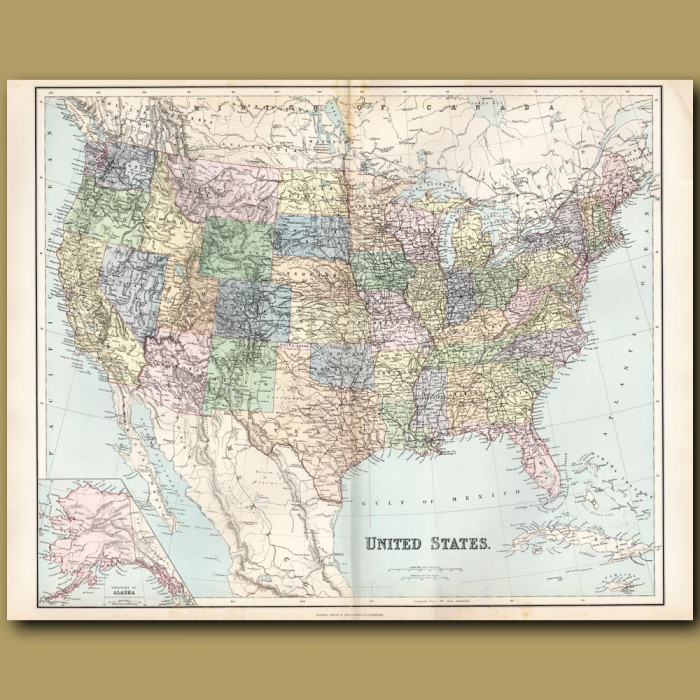 Map Of The United States: Genuine antique print for sale.
