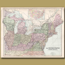 Map Of United States Of America: North East States