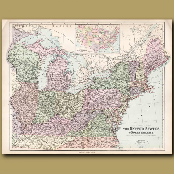 Map Of United States Of America: North East States: Genuine antique print for sale.