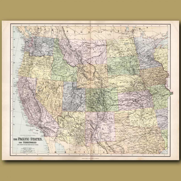Map Of United States Of America: Pacific States: Genuine antique print for sale.