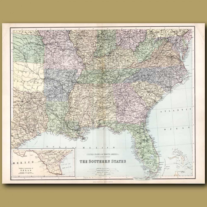 Map Of United States Of North America: Southern States: Genuine antique print for sale.