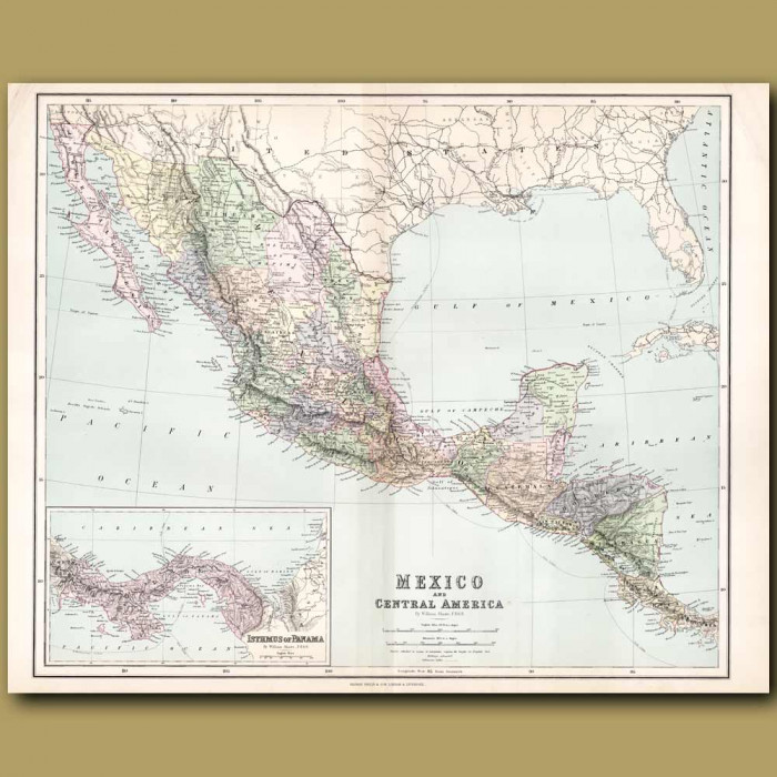 Map Of Mexico and Central America: Genuine antique print for sale.