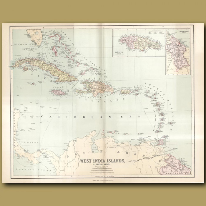 Map Of West India Islands And British Guiana: Genuine antique print for sale.