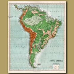 Orographical Map Of South America