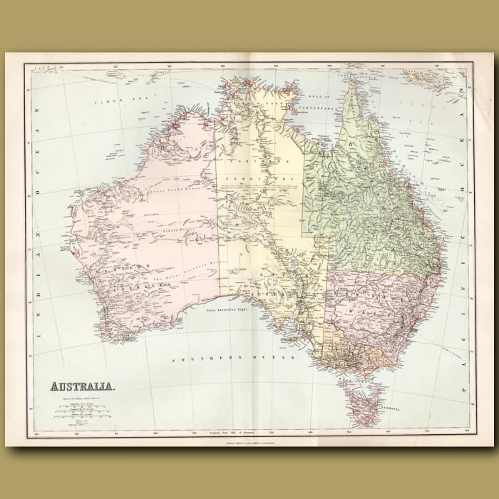 Map Of Australia: Genuine antique print for sale.