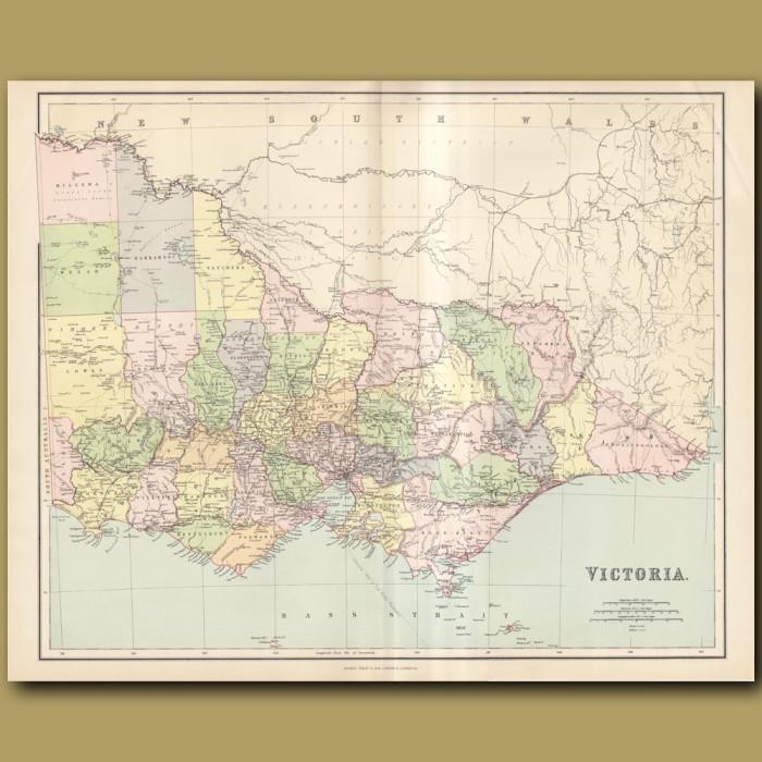 Map Of Victoria: Genuine antique print for sale.