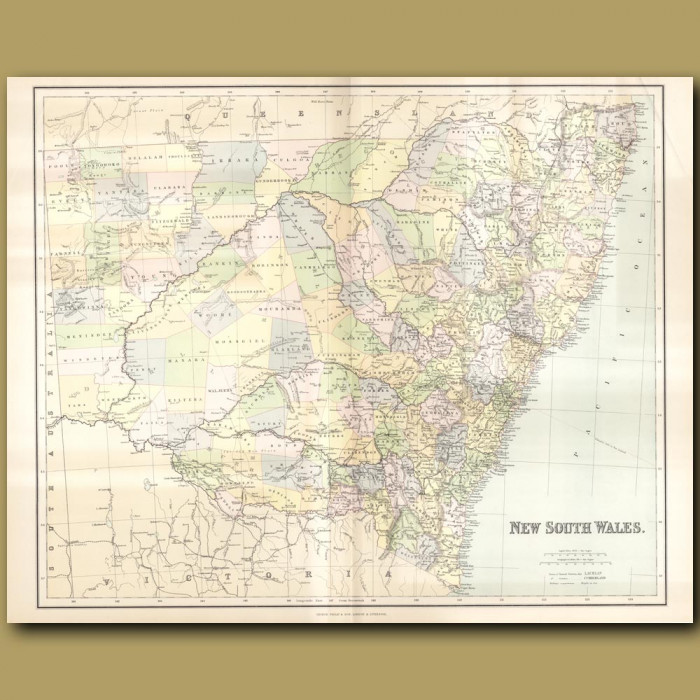 Map Of New South Wales: Genuine antique print for sale.