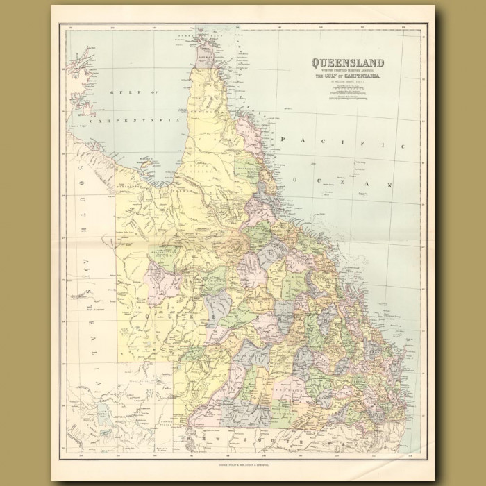 Map Of Queensland And The Gulf Of Carpentaria: Genuine antique print for sale.