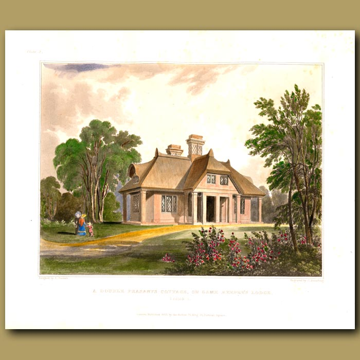 Antique print. Peasant's cottage or gamekeeper's lodge in beautiful gardens
