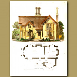 Gardeners lodge.  Floor plan and elevation of the house