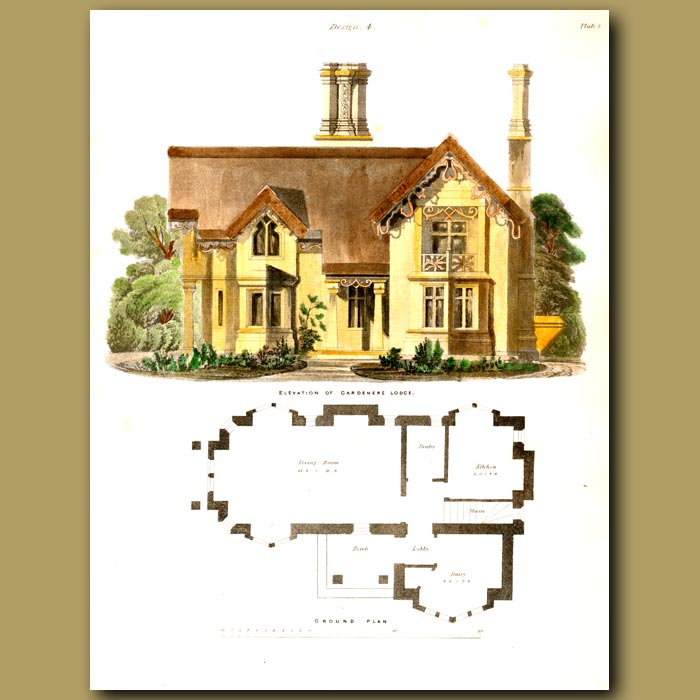 Antique print. Gardeners lodge.  Floor plan and elevation of the house